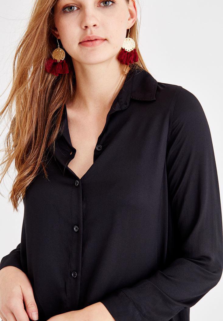 Bayan Siyah Uzun Kollu Uzun Gömlek
