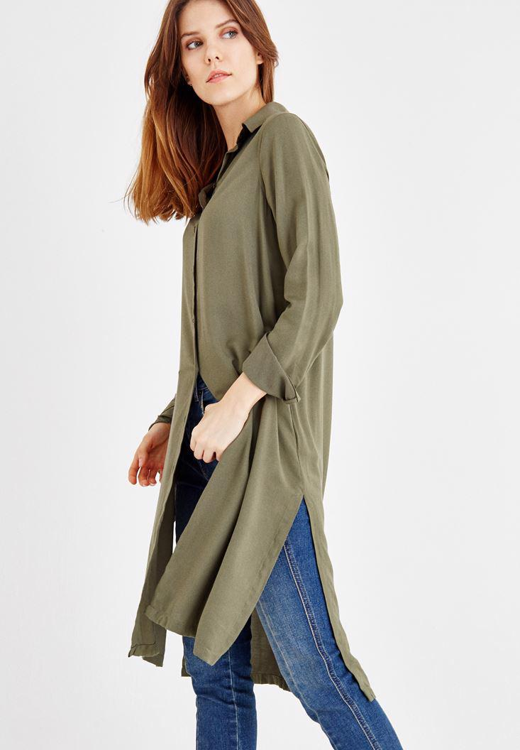 Women Green Long Shirt with Long Sleeve