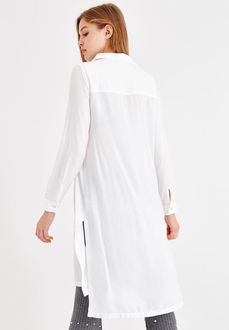 Bayan Krem Uzun Kollu Uzun Gömlek