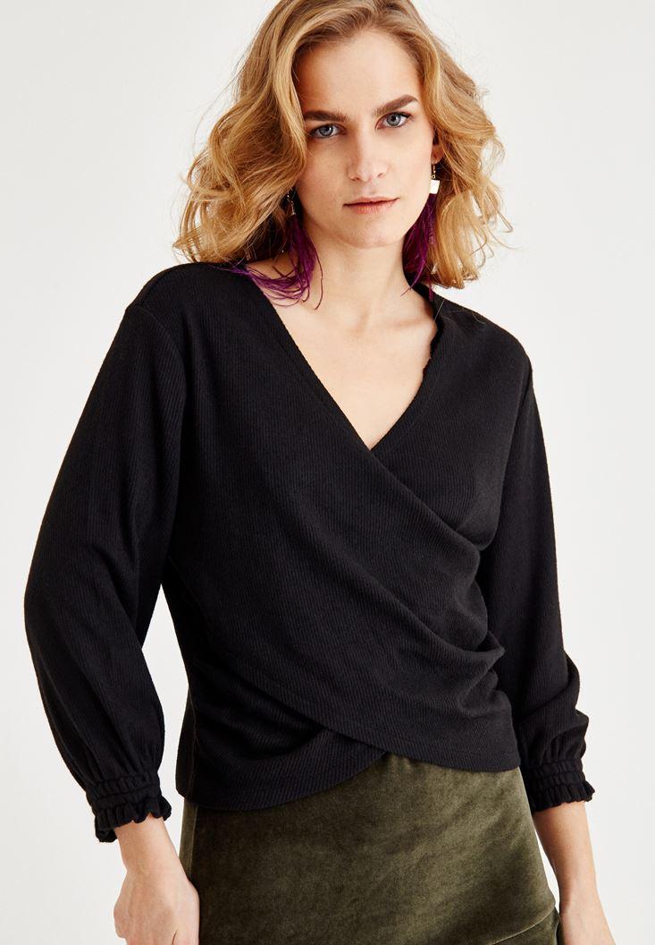 Bayan Siyah V Yaka Kruvaze Bluz