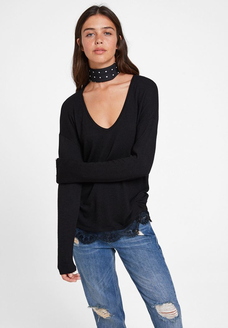 Black Long Sleeve Blouse with Lace