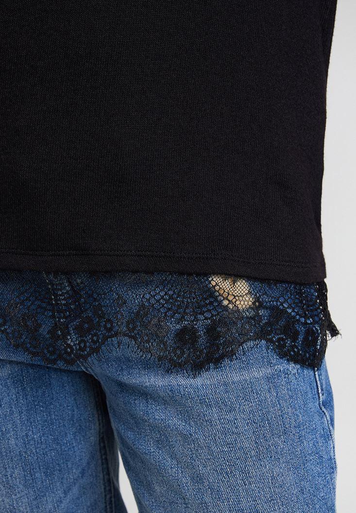 Bayan Siyah Dantelli Uzun Kollu Bluz