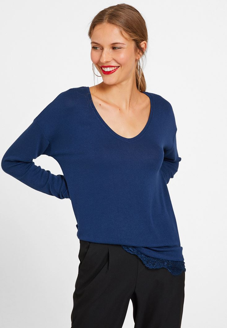 Blue Long Sleeve Blouse with Lace