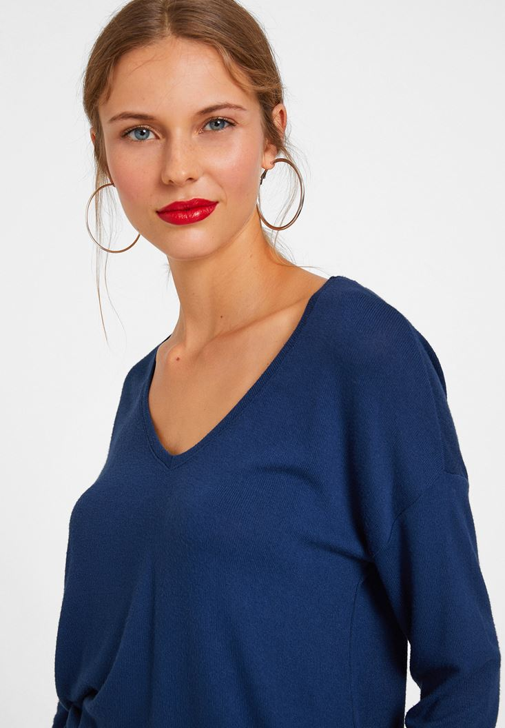 Bayan Mavi Dantelli Uzun Kollu Bluz
