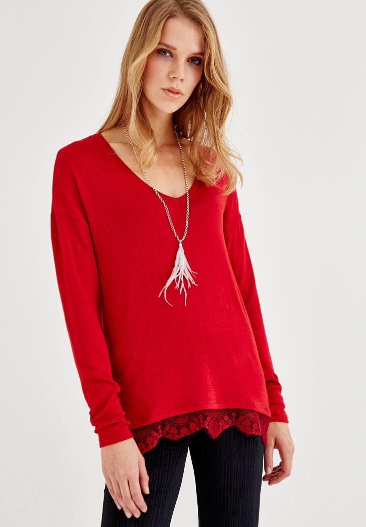 Bayan Kırmızı Dantelli Uzun Kollu Bluz
