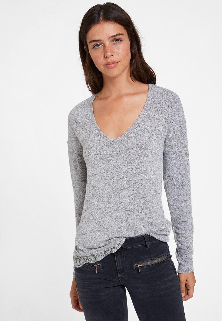 Bayan Gri Dantelli Uzun Kollu Bluz