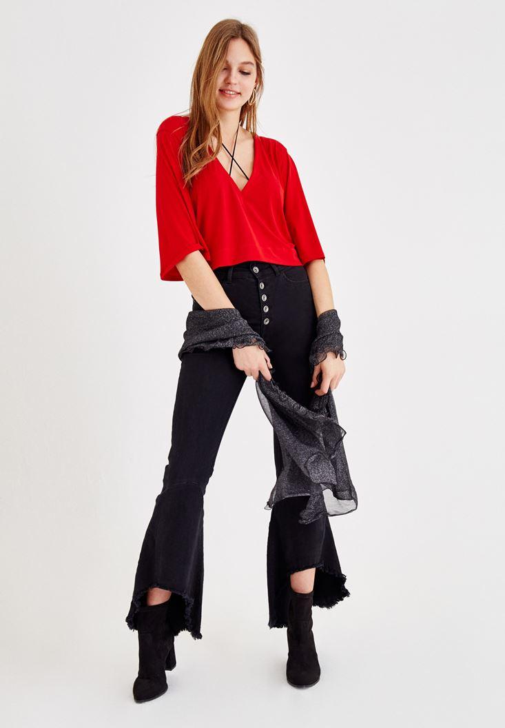 Bayan Kırmızı V Yaka Kol Detaylı Bluz