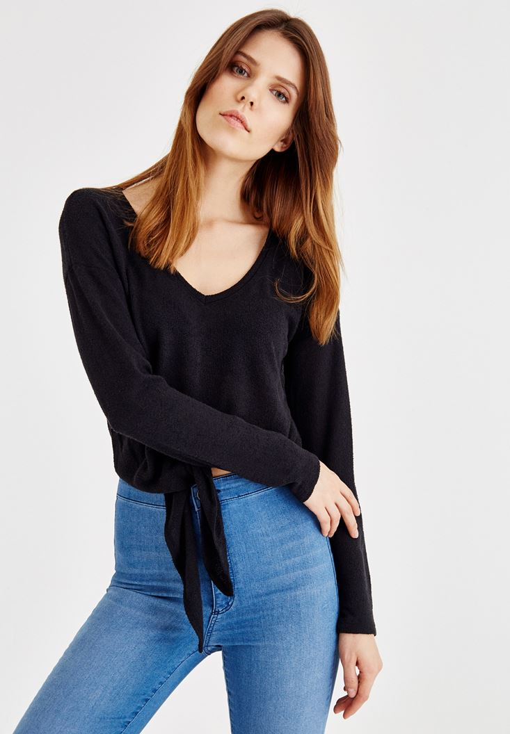 Black Blouse Tied at the Waist