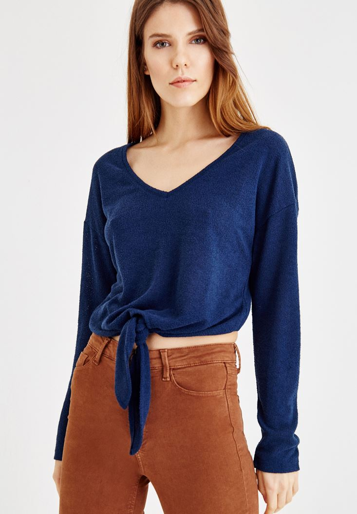 Navy Blouse Tied at the Waist
