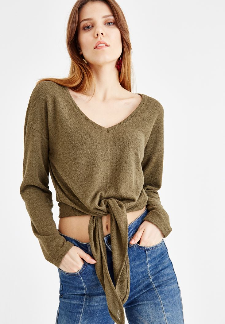 Green Blouse Tied at the Waist
