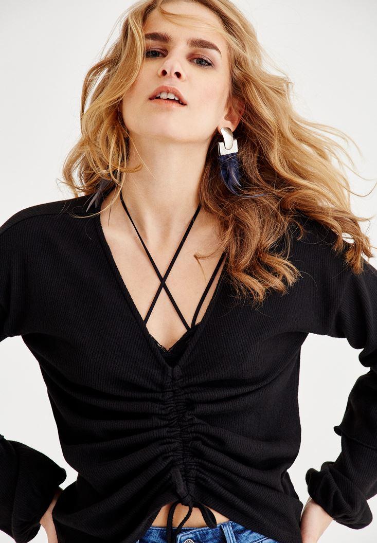Bayan Siyah Büzgü Detaylı Bluz