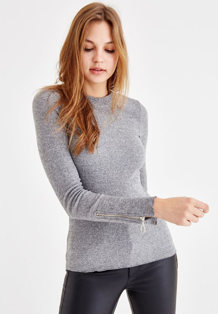 Grey Pullover with Arm Zip Detail