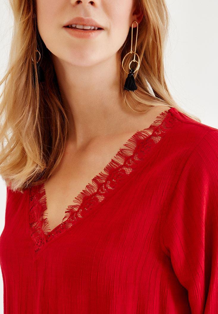 Bayan Kırmızı Dantel Detaylı Kısa Elbise