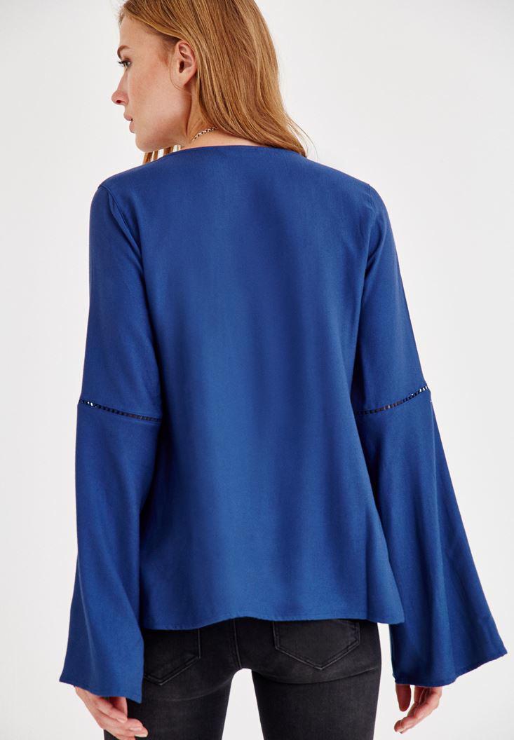Bayan Mavi V Yaka Kolları Detaylı Bluz