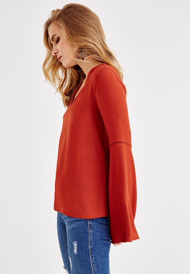 Bayan Kahverengi V Yaka Kolları Detaylı Bluz
