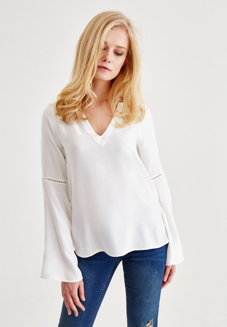 Cream V Neck Blouse With Sleeve Detailed