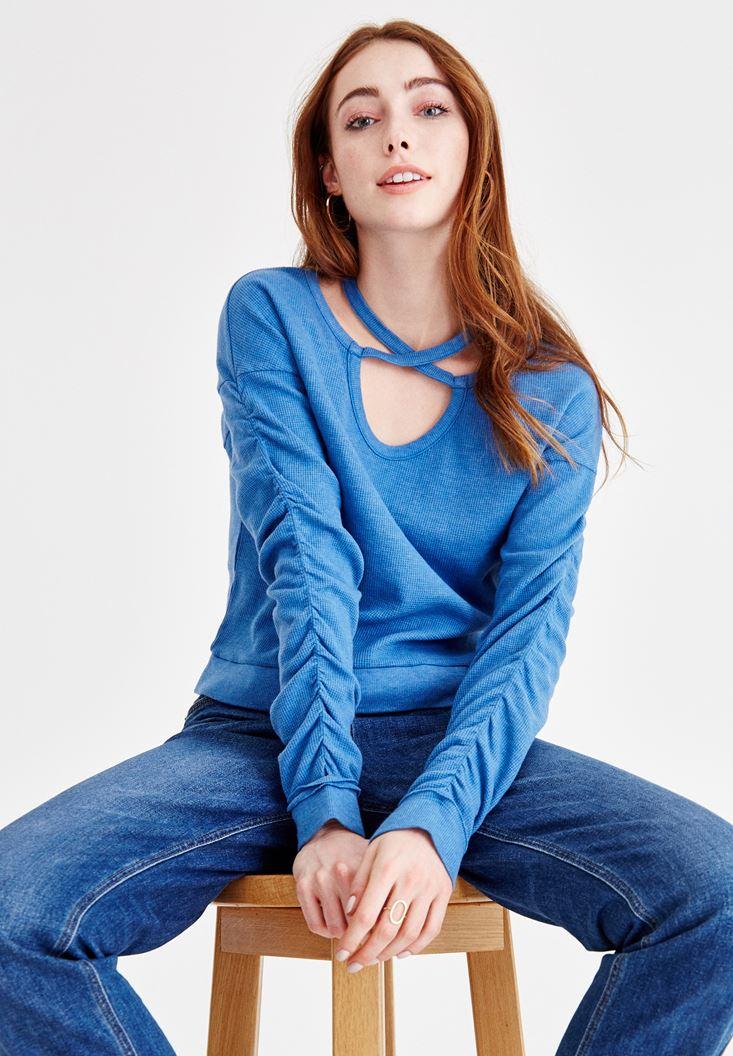 Mavi Çapraz Biye Detaylı Sweatshirt