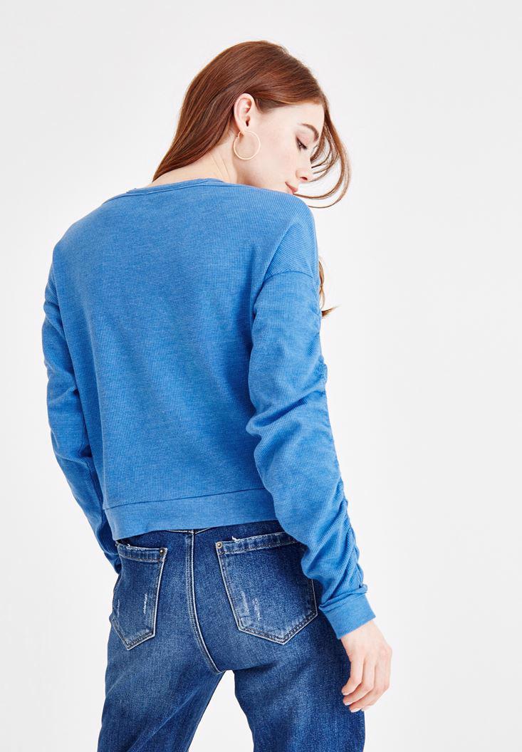 Bayan Mavi Çapraz Biye Detaylı Sweatshirt