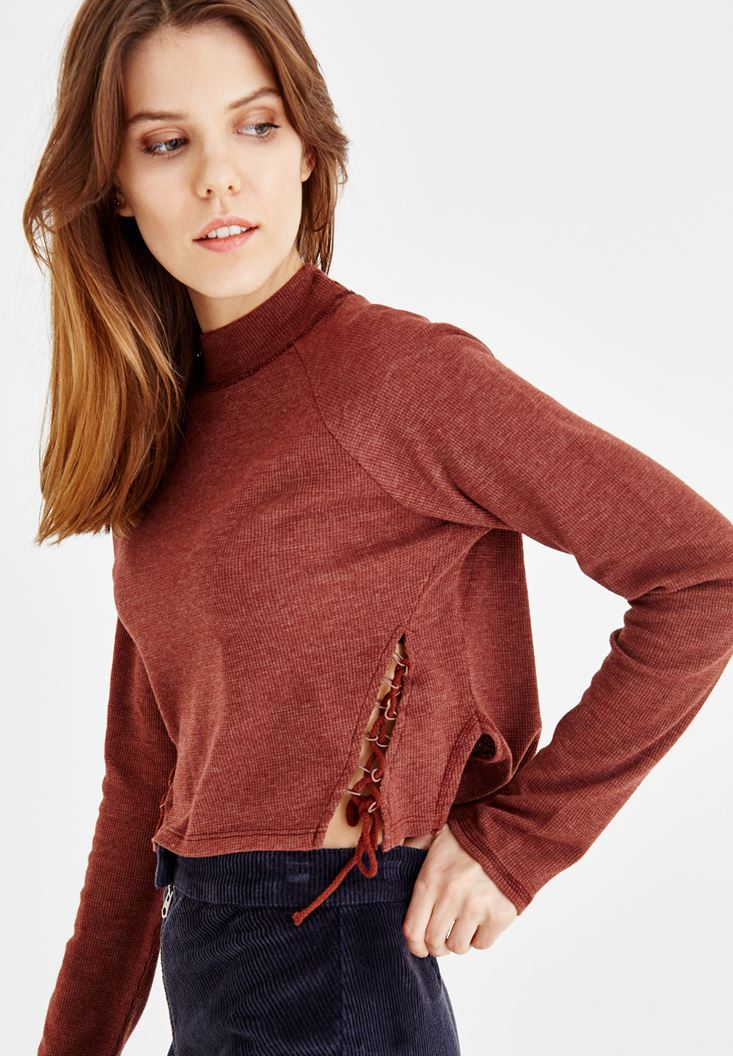 Kahverengi Yanları İp Detaylı Sweatshirt