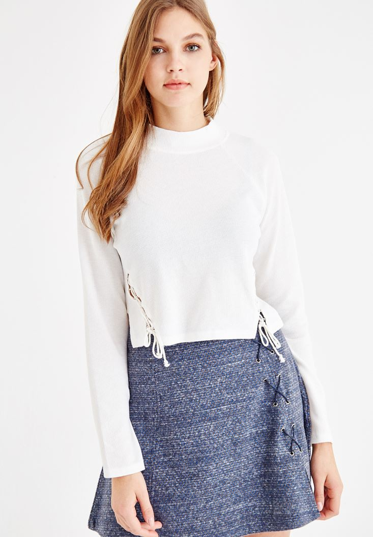 Krem Yanları İp Detaylı Sweatshirt