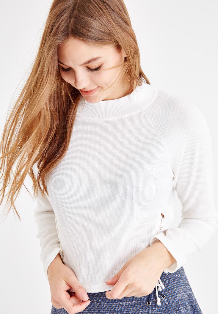 Bayan Krem Yanları İp Detaylı Sweatshirt