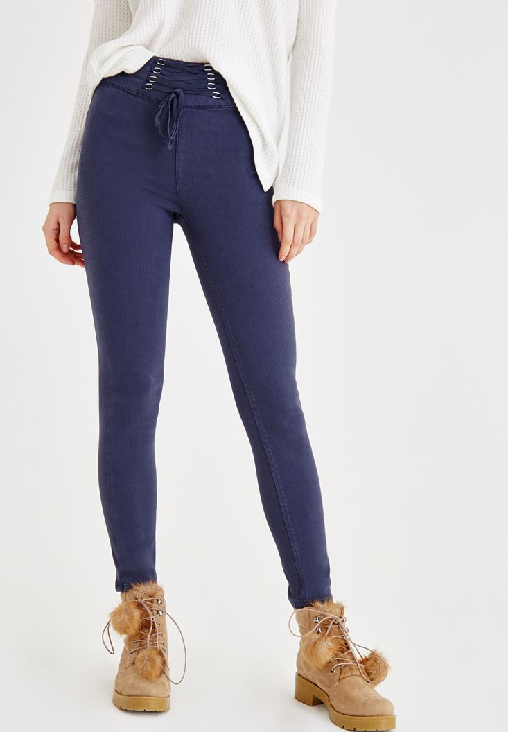 Navy Skinny Jenas with Cord Details