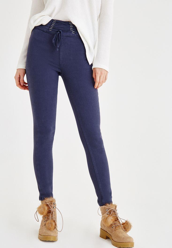 Lacivert Önü İp Detaylı Dar Paça Pantolon