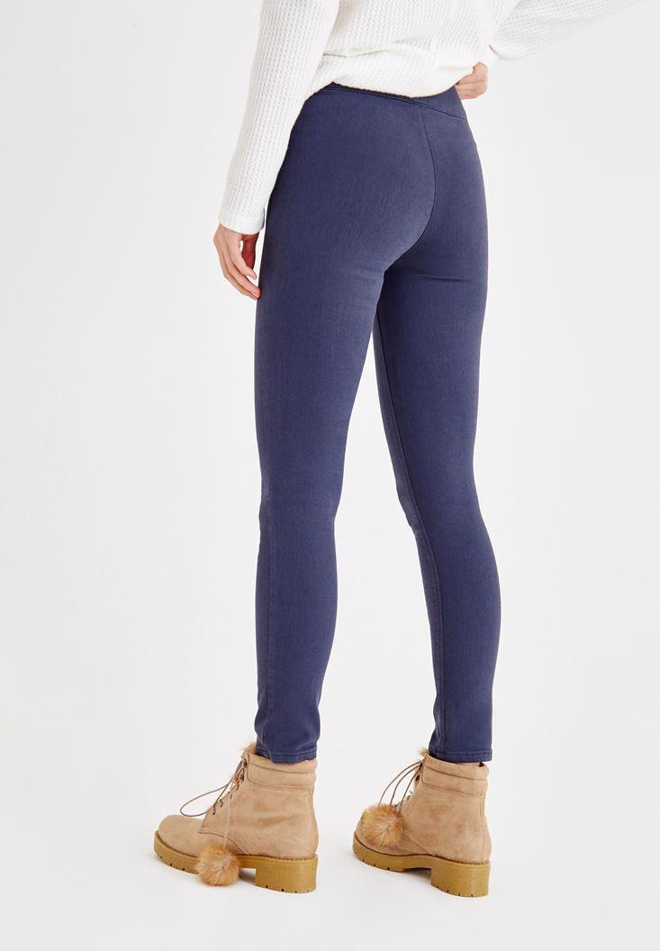 Bayan Lacivert Önü İp Detaylı Dar Paça Pantolon
