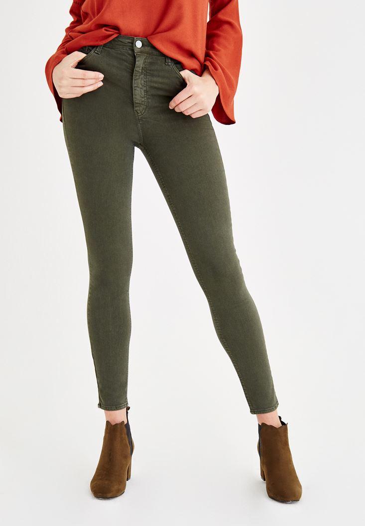 Yeşil Yüksel Bel Dar Paça Pantolon