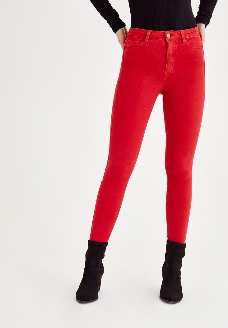Kırmızı Yüksel Bel Dar Paça Pantolon
