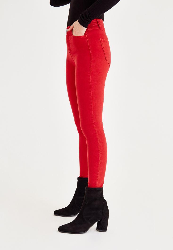 Bayan Kırmızı Yüksel Bel Dar Paça Pantolon