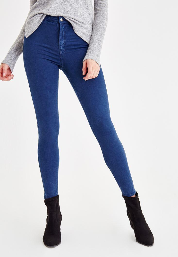 Lacivert Yüksel Bel Dar Paça Pantolon