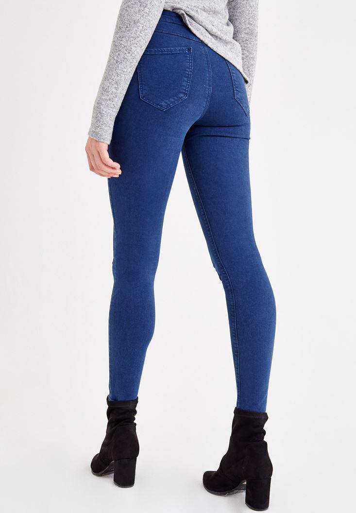 Bayan Lacivert Yüksel Bel Dar Paça Pantolon