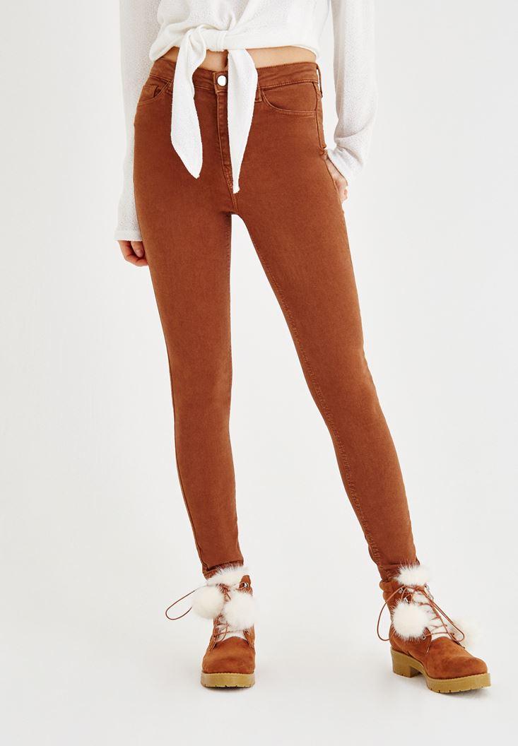 Kahverengi Yüksel Bel Dar Paça Pantolon