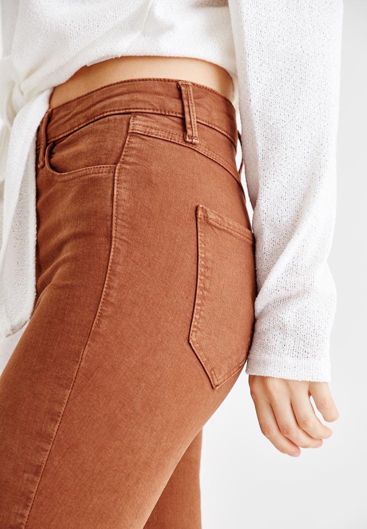 Bayan Kahverengi Yüksel Bel Dar Paça Pantolon
