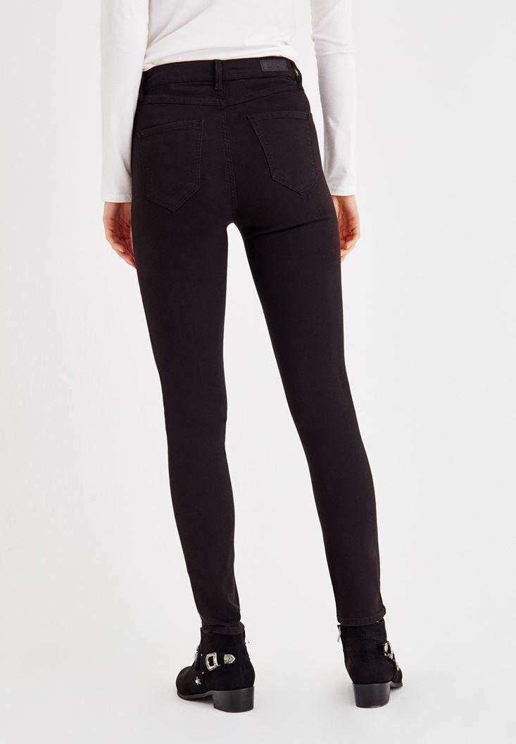 Bayan Siyah Yüksel Bel Dar Paça Pantolon