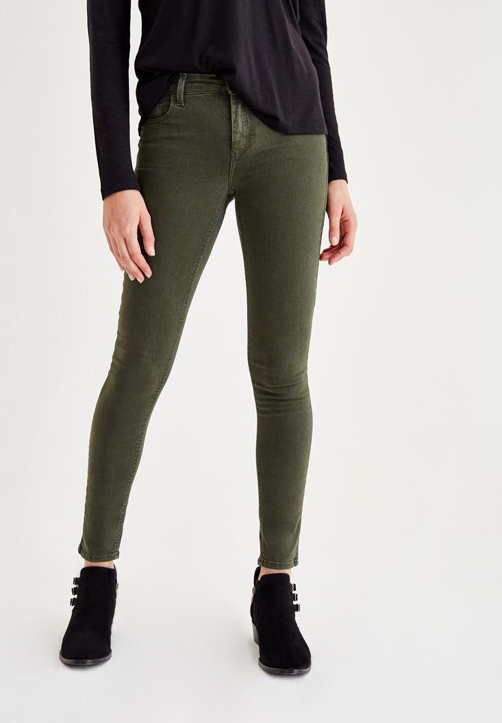 Yeşil Orta Bel Dar Paça Skinny Pantolon