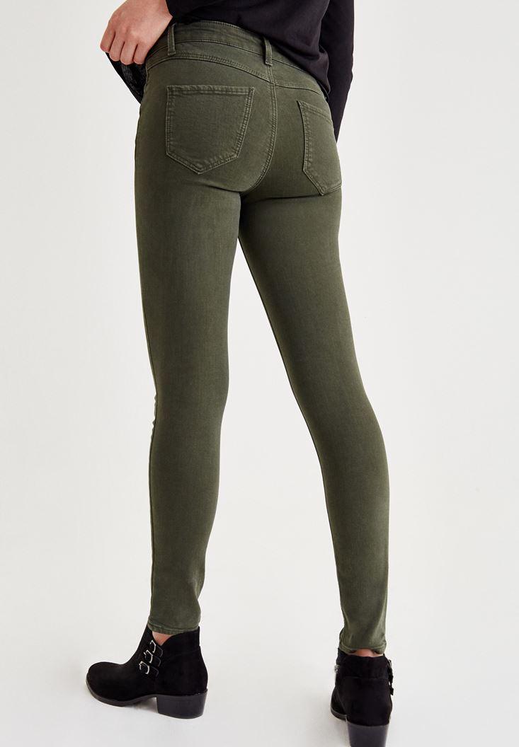 Bayan Yeşil Orta Bel Dar Paça Skinny Pantolon