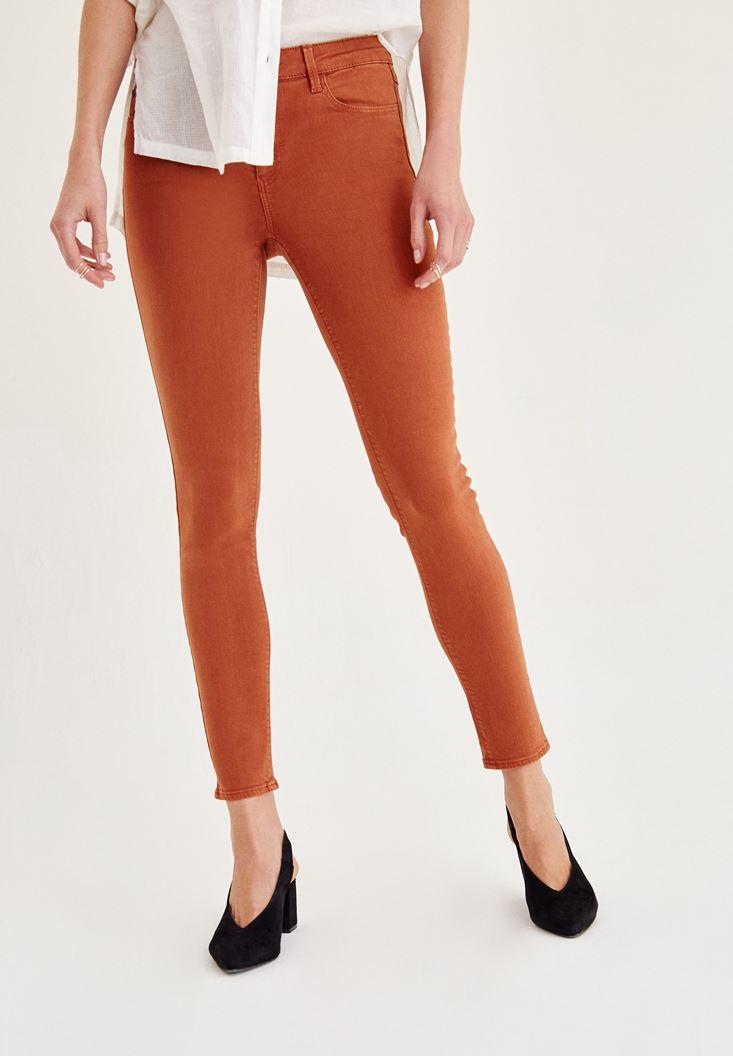 Kahverengi Orta Bel Dar Paça Skinny Pantolon