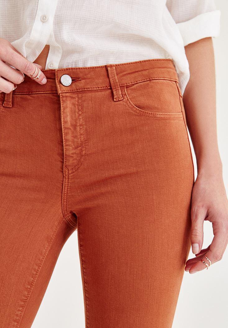 Bayan Kahverengi Orta Bel Dar Paça Skinny Pantolon
