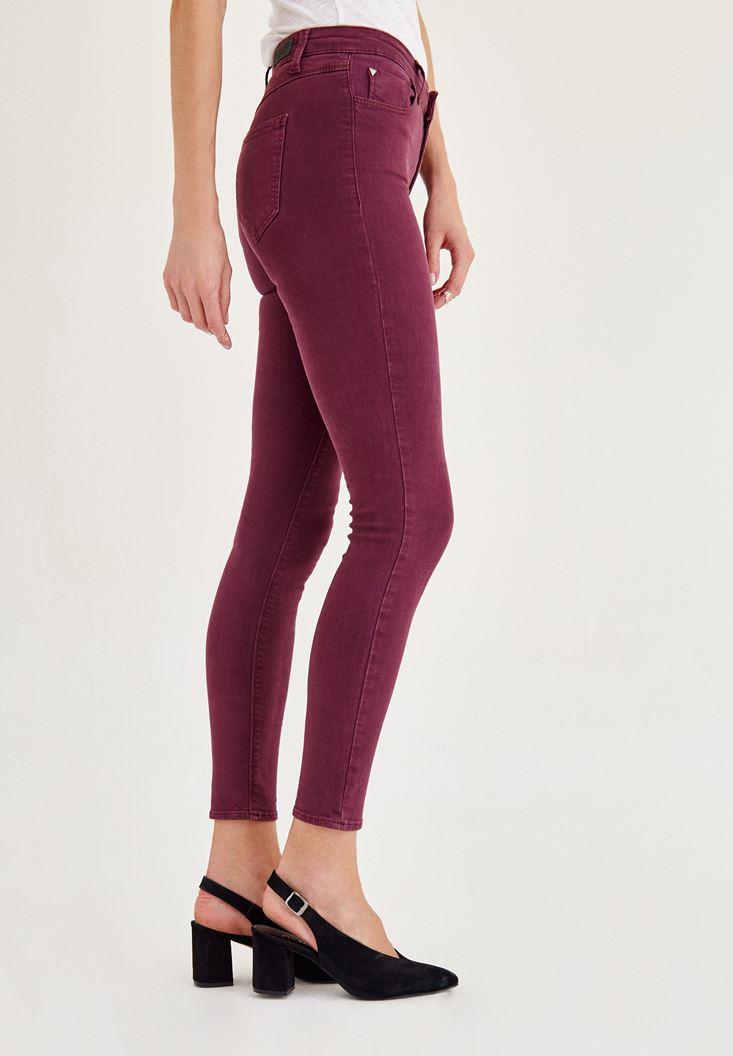 Bayan Mor Orta Bel Dar Paça Skinny Pantolon