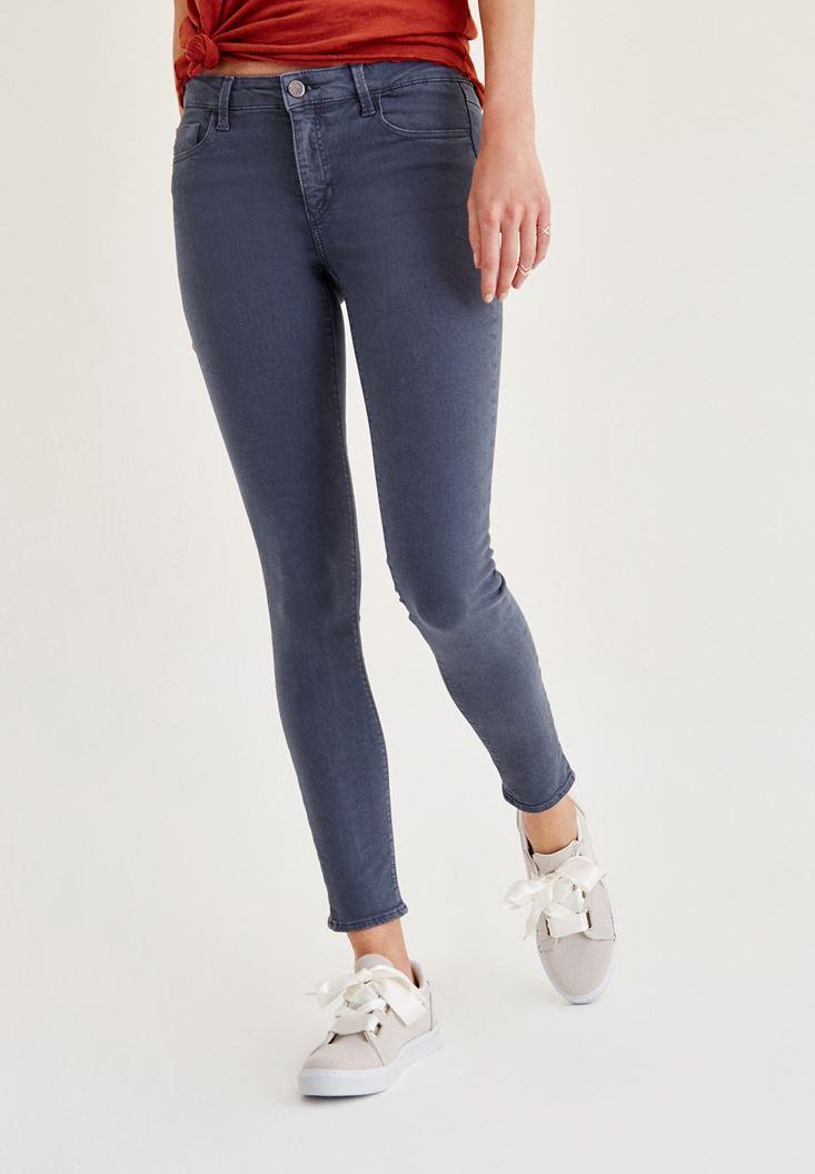 Gri Orta Bel Dar Paça Skinny Pantolon