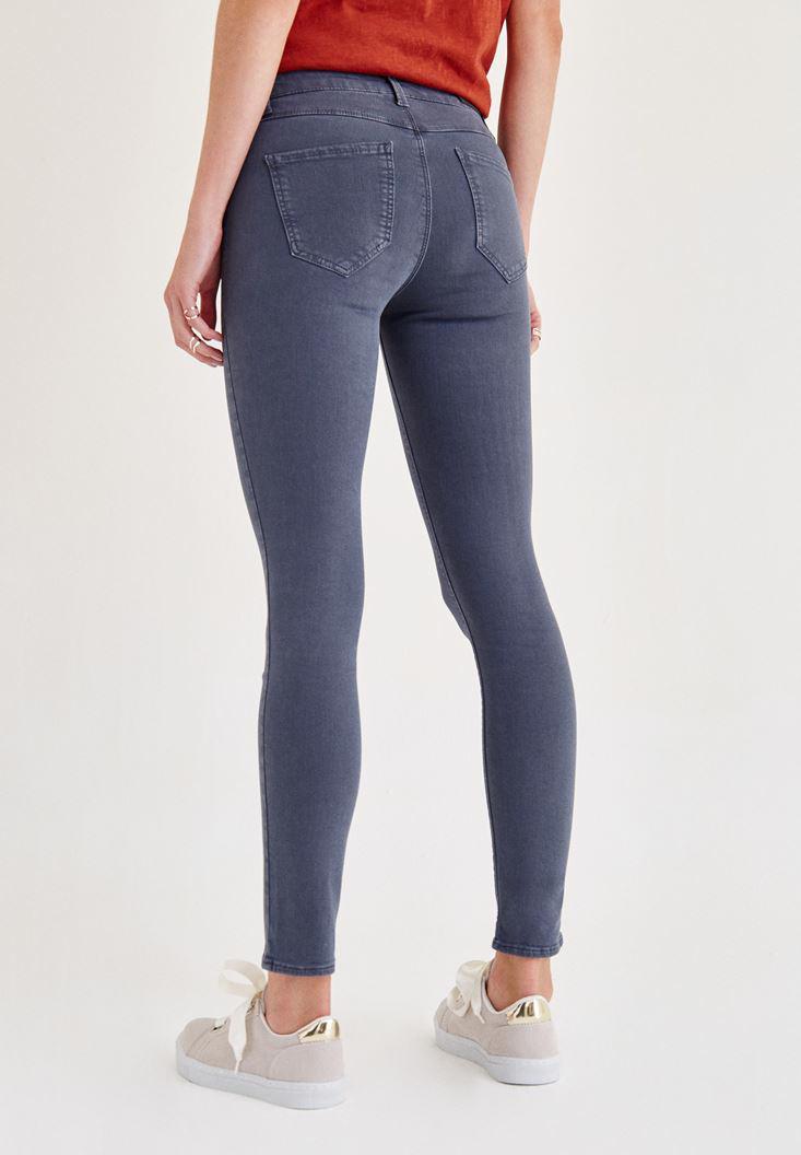 Bayan Gri Orta Bel Dar Paça Skinny Pantolon