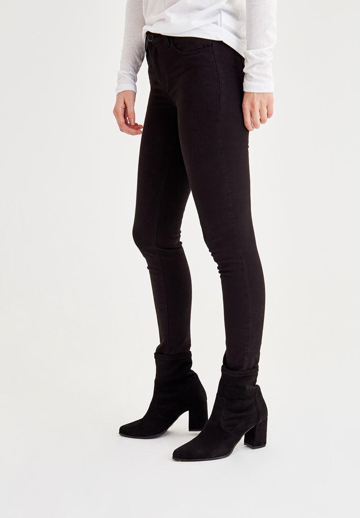 Bayan Siyah Orta Bel Dar Paça Skinny Pantolon