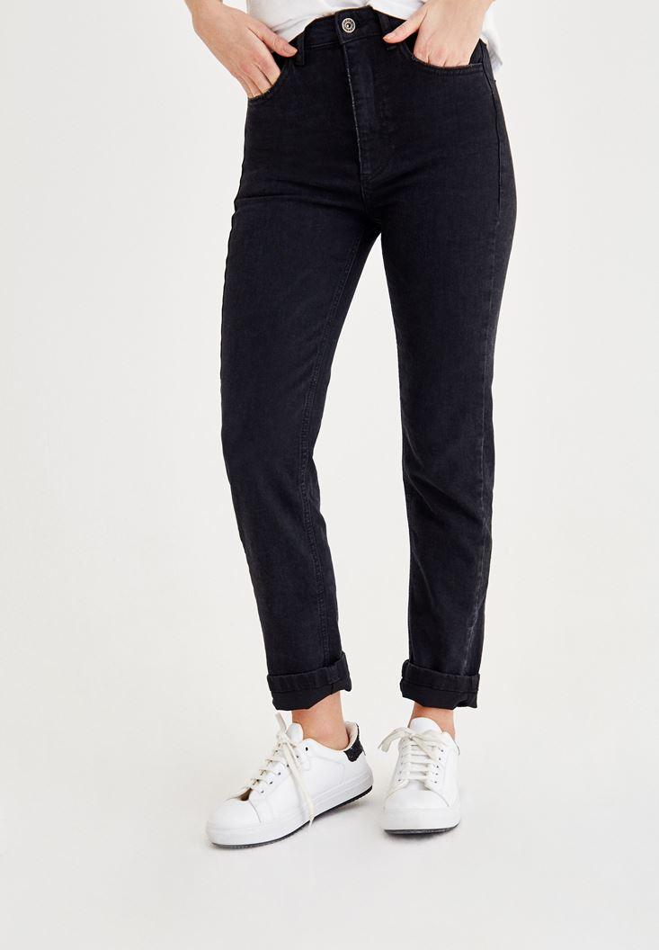 Siyah Ultra Yüksek Bel Slim Mom Pantolon