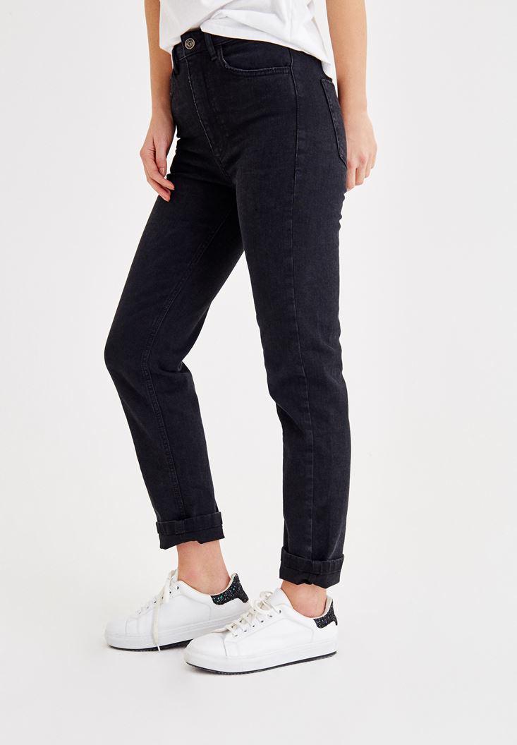 Bayan Siyah Ultra Yüksek Bel Slim Mom Pantolon