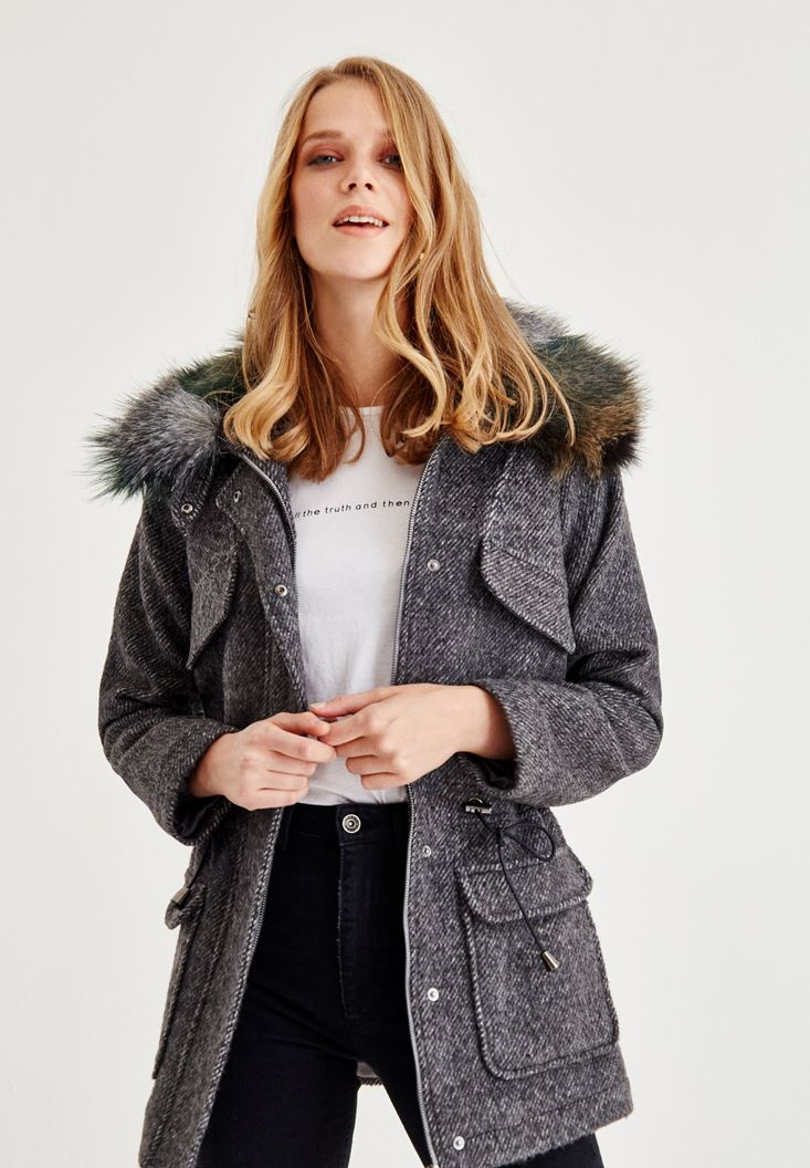 Grey Coat with Fake Fur Detail