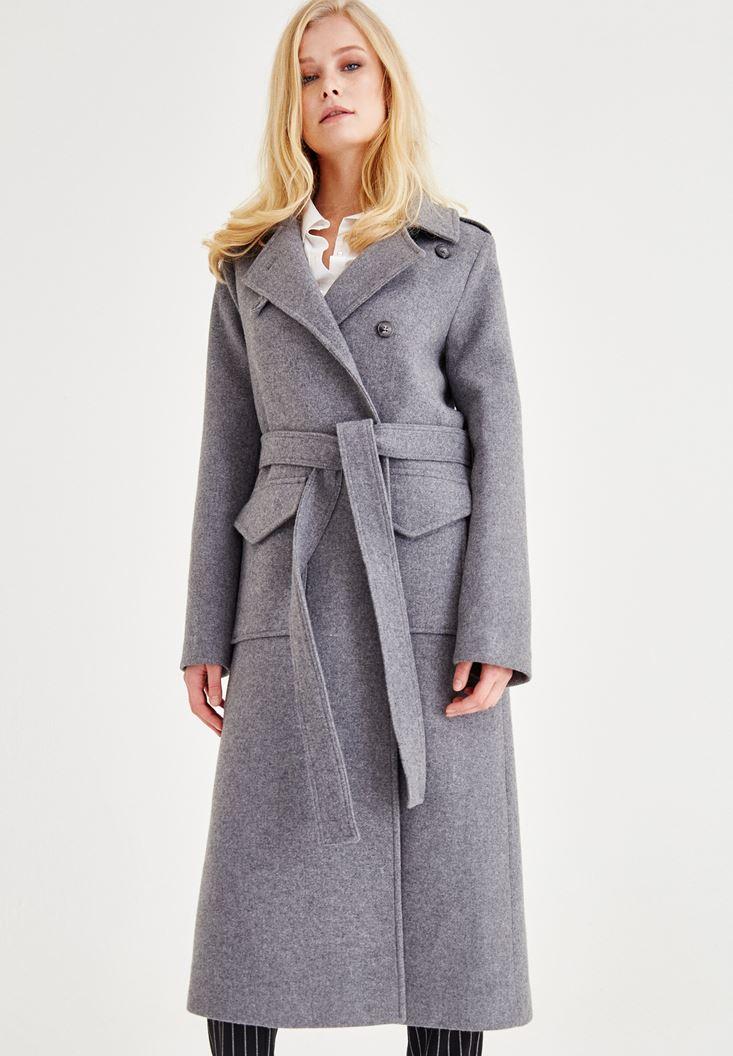 Bayan Gri Kemerli Uzun Palto