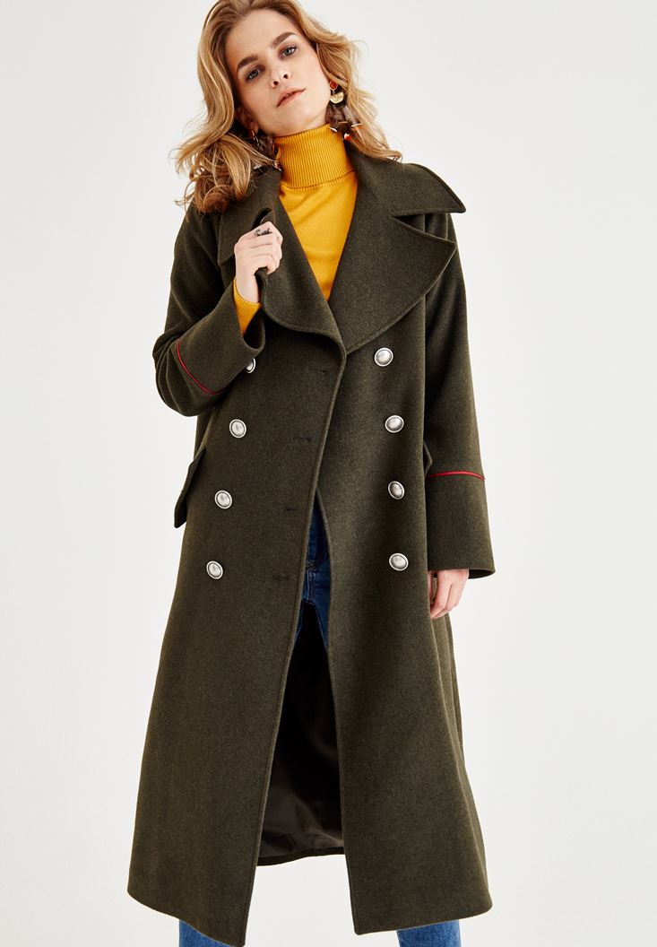 Green Military Coat with Line Detail