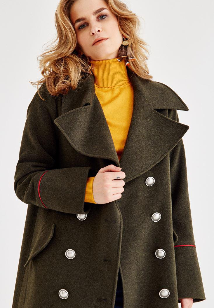 Women Green Military Coat with Line Detail